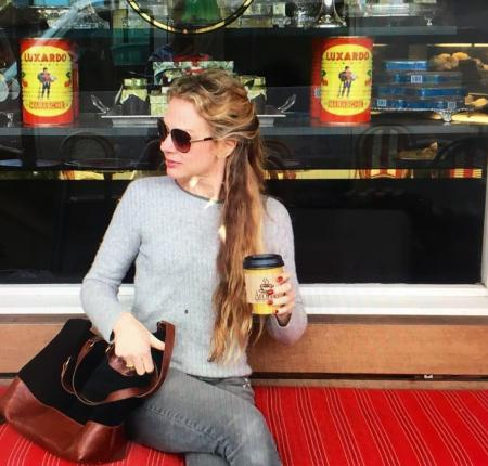 beautiful blonde drinking coffee